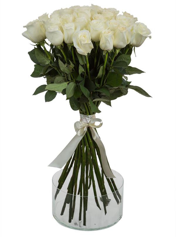 25 Элитных белых роз 55 см
