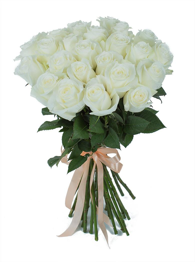Белая роза 55 см