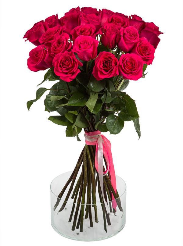 25 Элитных розовых роз 55 см