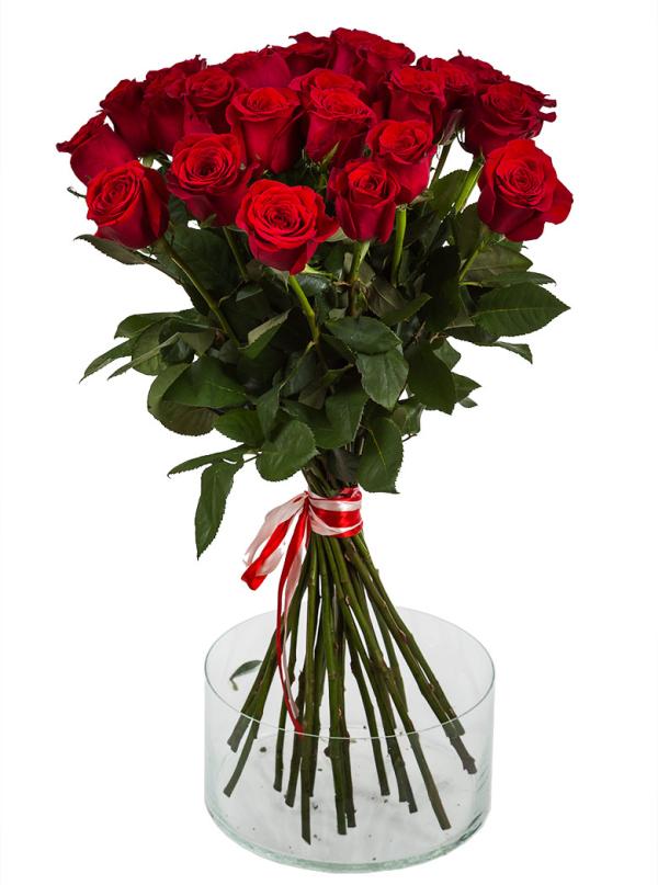 25 Элитных красных роз 70 см
