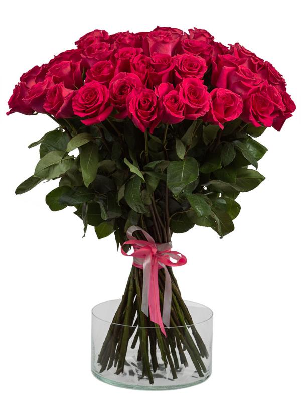 51 Элитная розовая роза 70 см