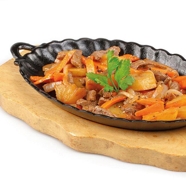 Фото Сковородка с говяжьим сердцем и овощами